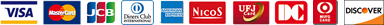 VISA、MASTER、JCB、ダイナース、アメリカン・エキスプレス、NICOS、UFJ、DC、MUFG、ディスカバーのロゴ画像